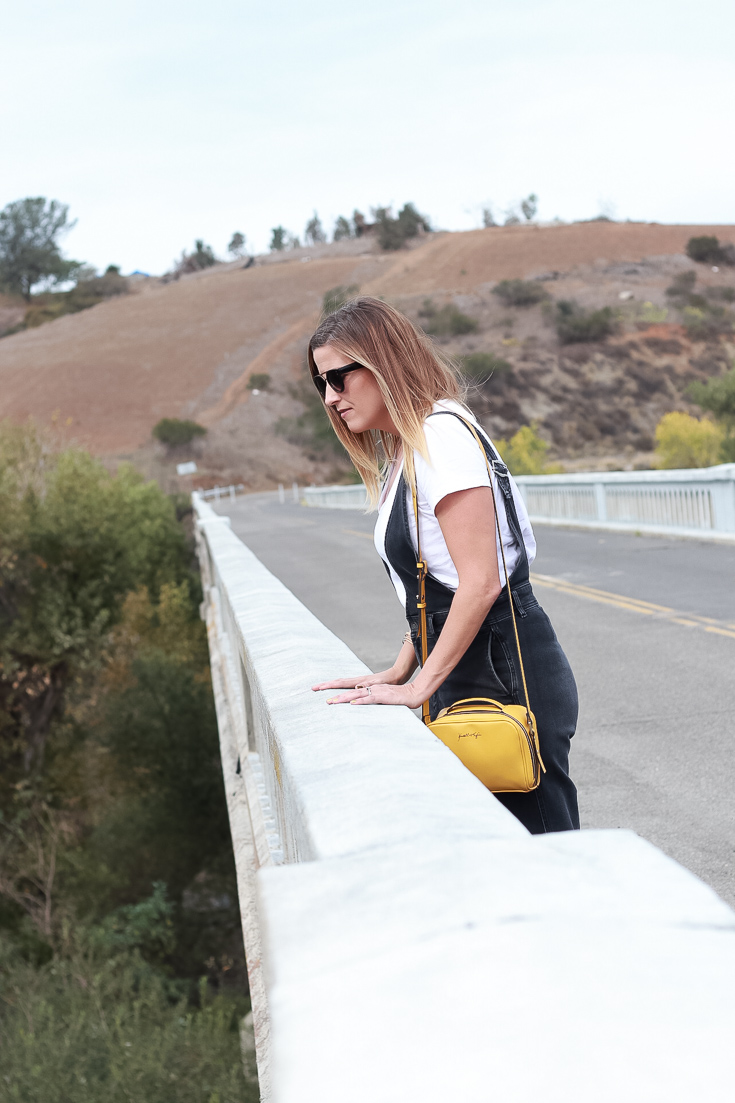 The Fashionista Momma shares black overalls the perfect every day look.