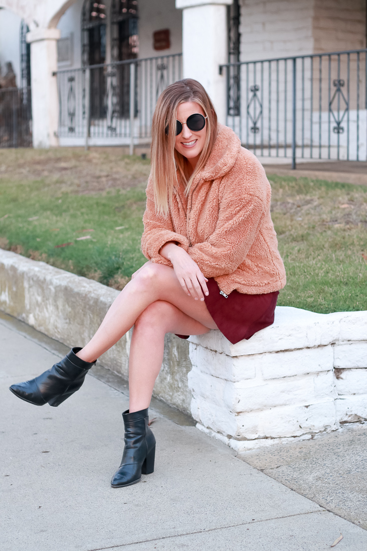 The Fashionista Momma shares a teddy bear coat, suede skirt and ankle boots.