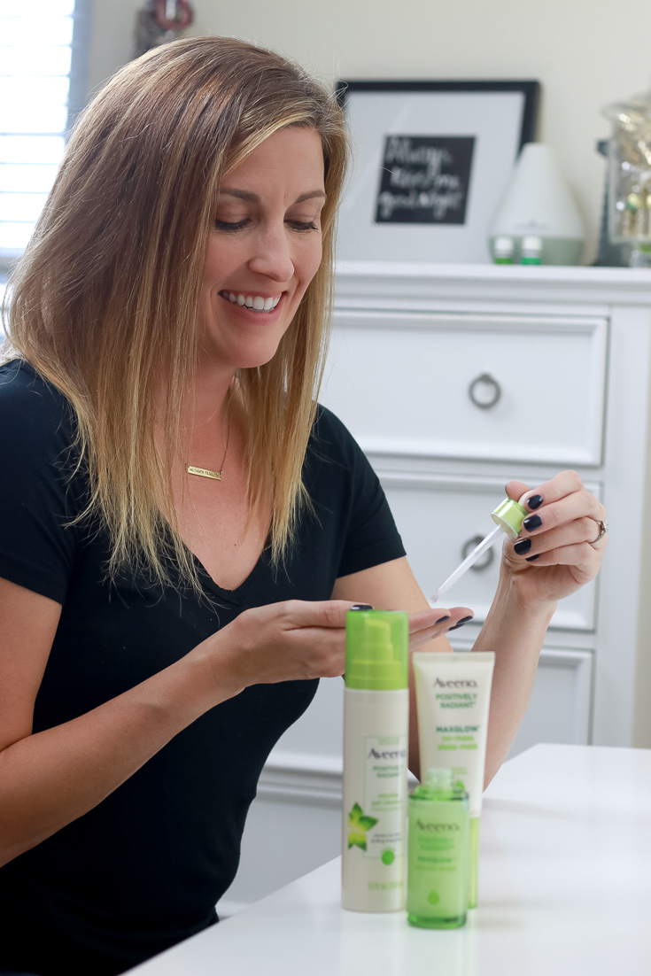 The Fashionista Momma shares an easy winter skin care routine featuring Aveeno Max Glow.