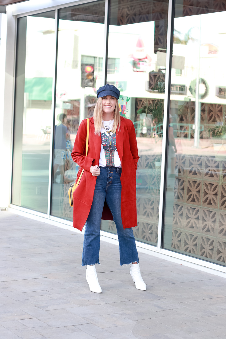 The Fashionista Momma styles a suede jacket and cropped denim for a day in Palm Springs.