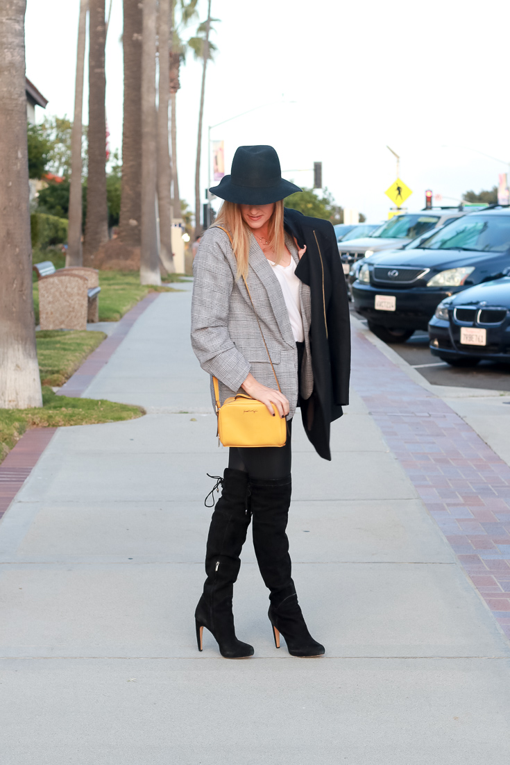 The Fashionista Momma styles faux leather leggings with a blazer and thigh high boots.