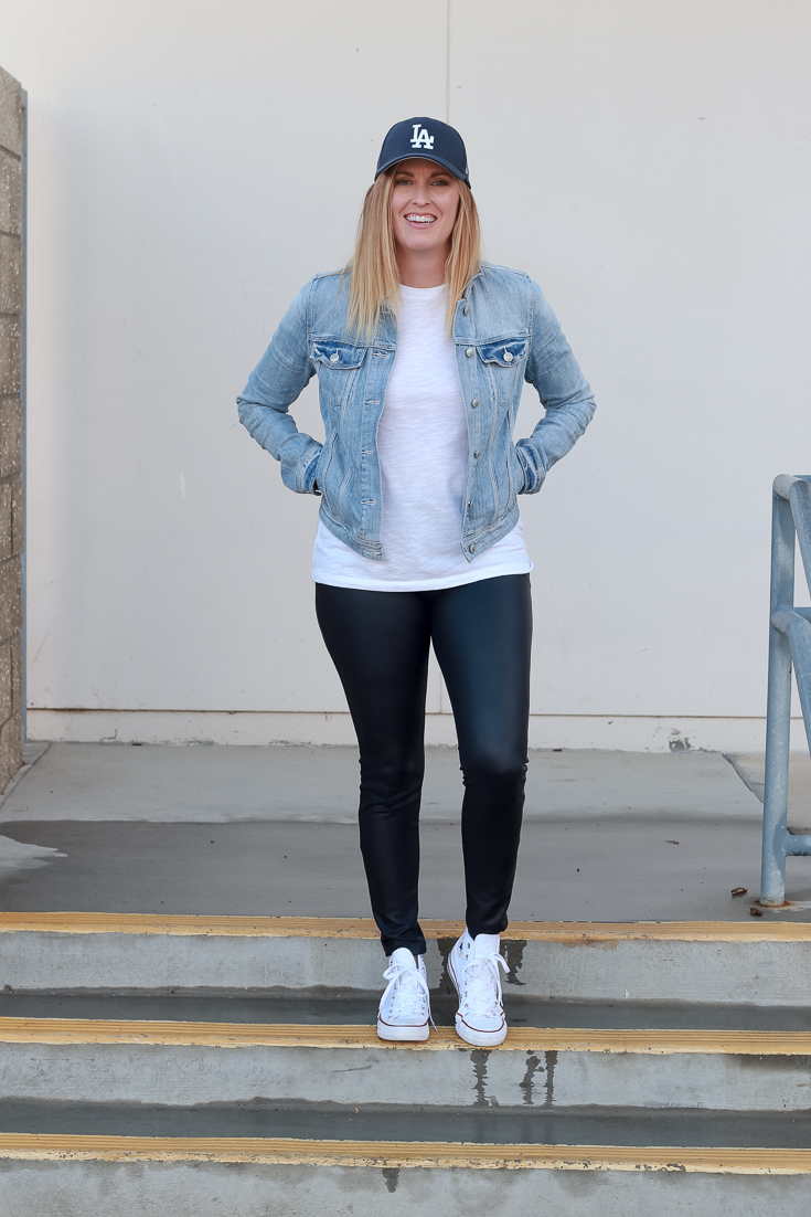 The Fashionista Momma shares how to style leather leggings.