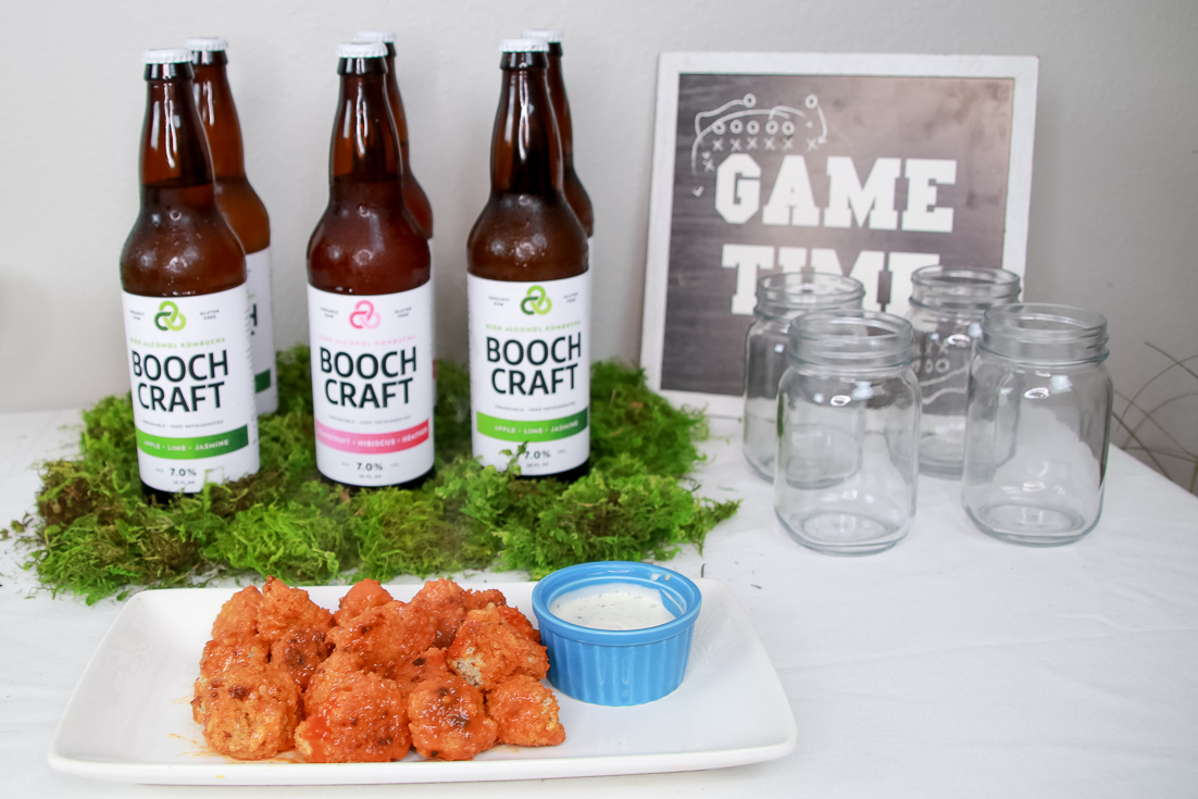 The Fashionista Momma shares a crispy vegan buffalo cauliflower bites with the ultimate beverage Boochcraft.