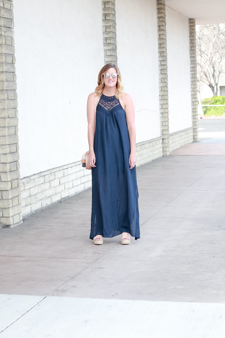 The Fashionista Momma styles a navy maxi dress from PinkBlush.