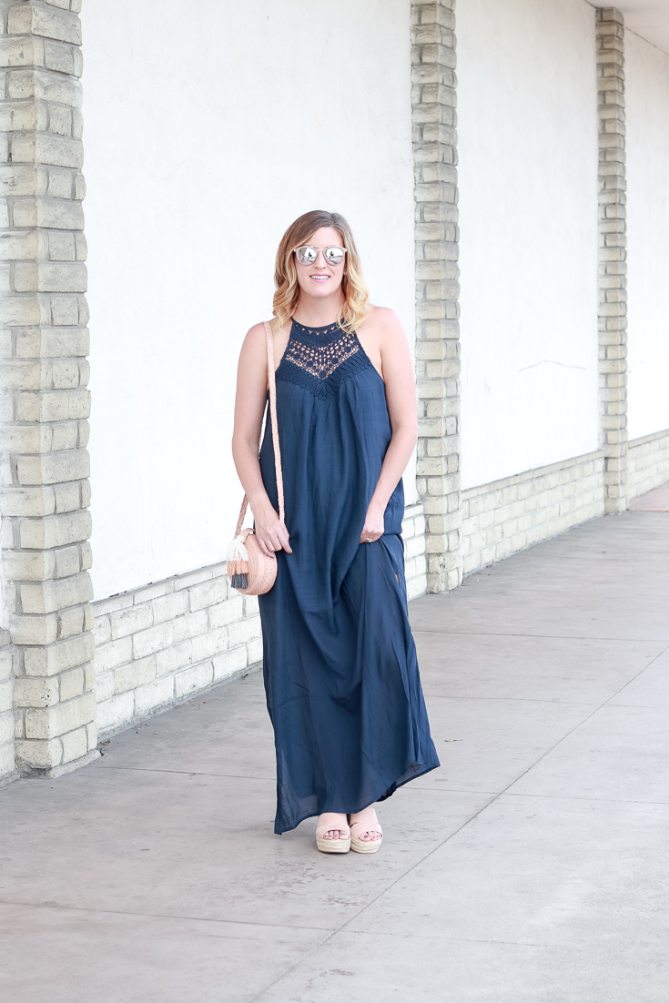 The Fashionista Momma styles a navy maxi dress from PinkBlush