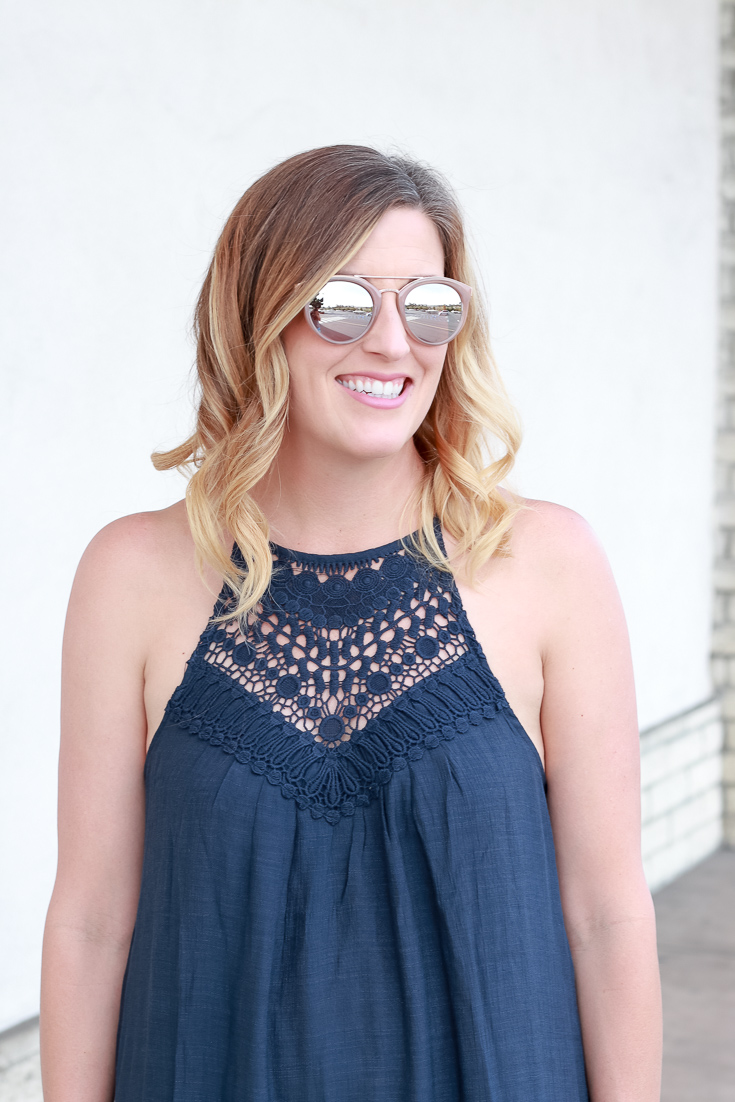 The Fashionista Momma styles a crocheted top maxi dress from PinkBlush