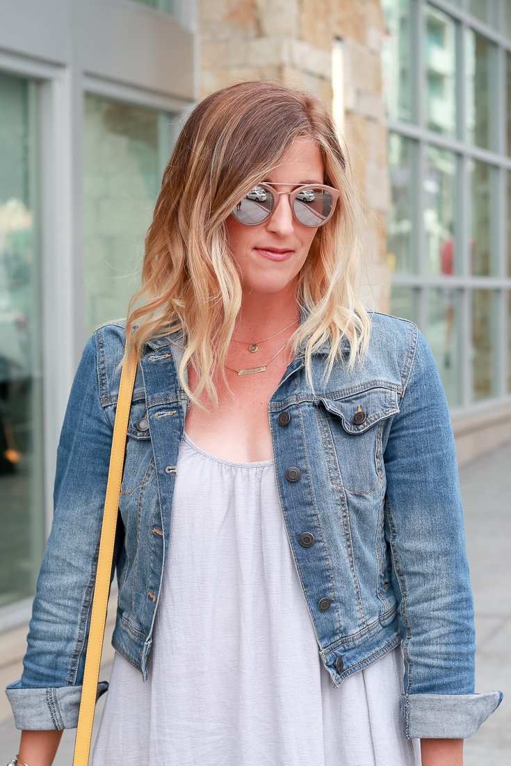 The Fashionista Momma styles a gray maxi dress and denim jacket.