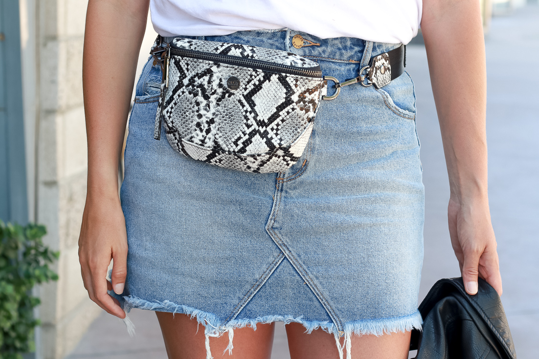 skirt and snake skin fanny pack.