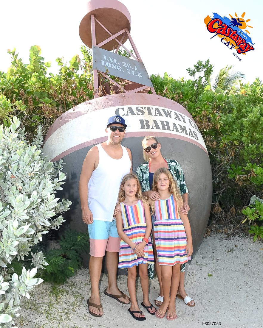 10 tips to booking a Disney Cruise shared by popular family travel blogger, The Fashionista Momma; family on Castaway Cay.