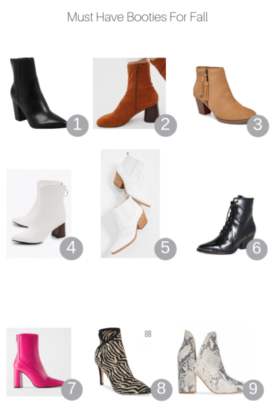 The Fashionista Momma shares all her must have booties for fall.