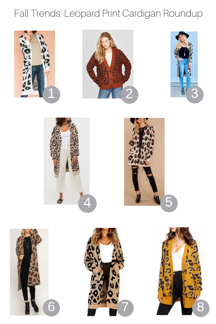 Fall Trends: Leopard Print Cardigan Roundup featured by Popular US Style Blogger, The Fashionista Momma; roundup of leopard cardigans