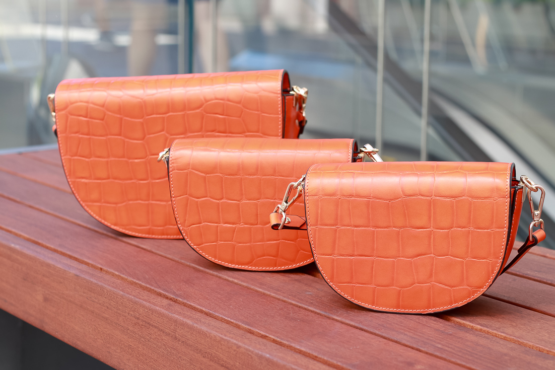 Mommy And Me Purses by Popular US fashion blogger, The Fashionista Momma : image of Zenko Orange Leather Shoulder Bags.