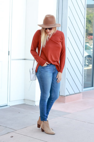 Popular US Style Blogger, The Fashionista Momma styles cute ankle booties; woman wearing sweater hat and ankle booties
