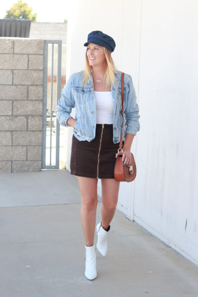Popular US Style Blogger, The Fashionista Momma styles cute ankle booties; woman wearing corduroy skirt and denim jacket
