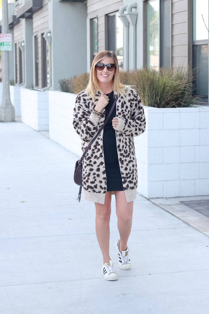 Fall Trends: Leopard Print Cardiga Roundup featured by Popular US Style Blogger, The Fashionista Momma; woman wearing cardigan and black bodycon dress