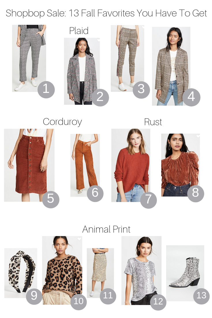 Fall Shopbop Sale: 13 items you have to get featured by top US Style blogger, The Fashionista Momma; collage of women's products from Shopbop Sale.