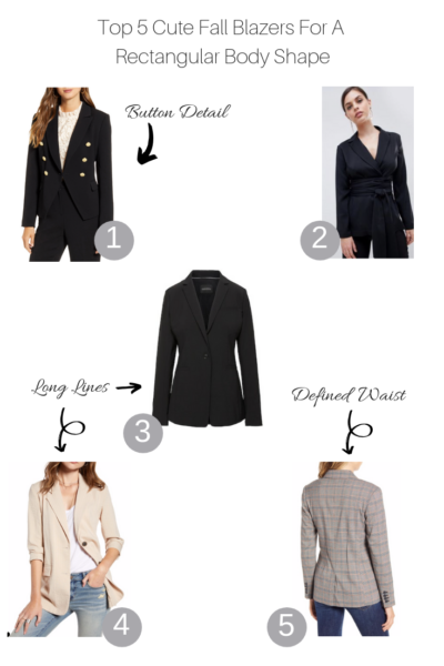 Top 5 cute blazers for a rectangular body shape featured by Top US Style blogger, The Fashionista Momma; collage of blazers for a rectangular body.