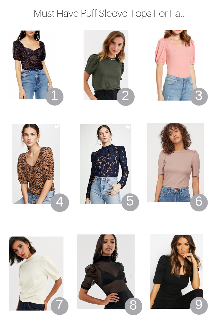 How To Style A Puff Sleeve Top This Fall by Popular US Style Blogger, The Fashionista Momma; product collage of the  best puff sleeve tops.