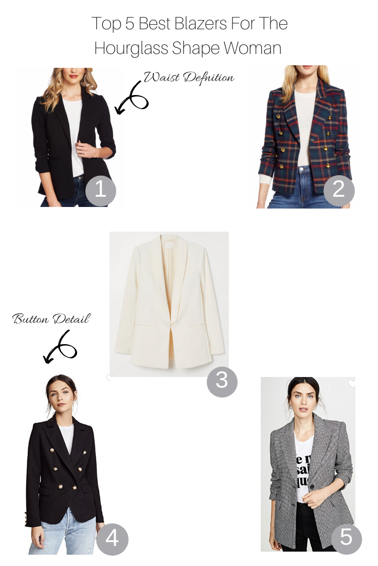 Top 5 cute blazers for the hourglass shape woman featured by Top US Style Blogger, The Fashionista Momma; collage of top blazers.