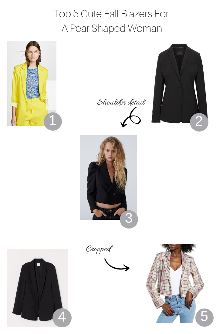 Top 5 cute fall blazers for a pear shaped woman featured by top US fashion blog, The Fashionista Momma:collage of top 5 blazers for a pear shaped body