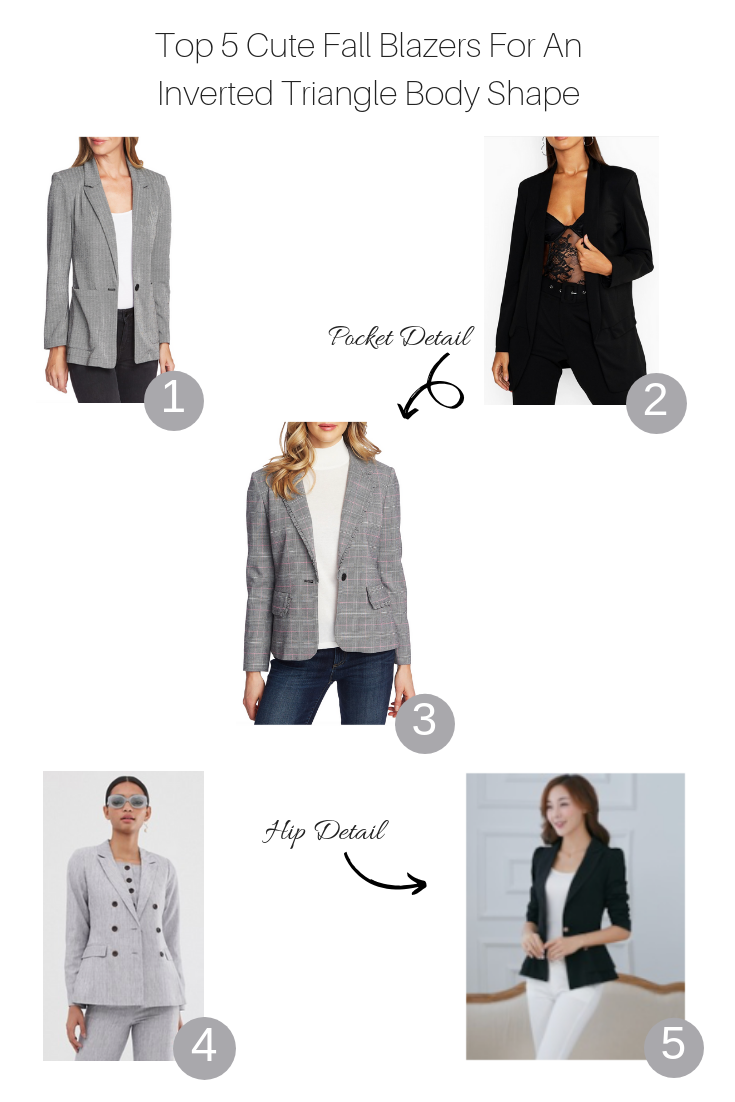 Top 5 Cute Fall Blazers For An Inverted Triangle featured by popular US Style Blogger The Fashionista Momma; collage of blazers for an inverted triangle