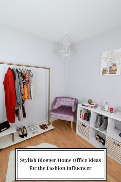 Stylish Blogger Home Office Ideas for the Fashion Influencer featured by top US Style Blogger, The Fashionista Momma; DIY rolling rack with purple chair and shelf.