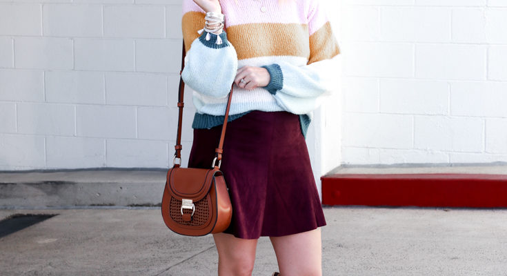 A Cute Sweater and Skirt Outfit for Fall
