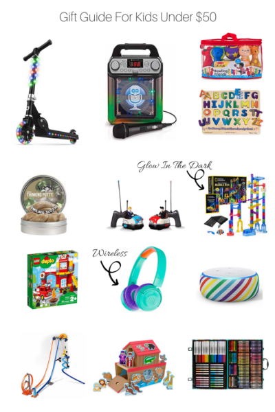 Gift guide for kids under $50 featured by US Fashion Blogger The Fashionista Momma; Collage of gifts for kids