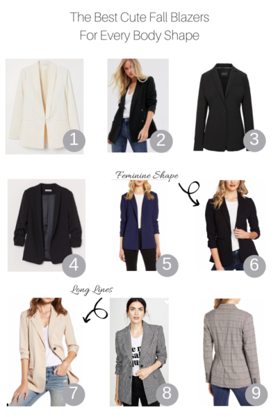 The Best Cute Fall Blazers for Every Body Shape featured by Top US Style Blogger, The Fashionista Momma; collage of top blazers for every body shape.