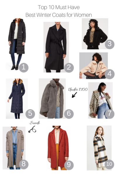 Top 10 Must Have Best Winter Coats For Women featured by Top US Style Blogger, The Fashionista Momma; collage of best winter coats including sherpa, H&M Fur Coat and a Suede Jacket from Zara.