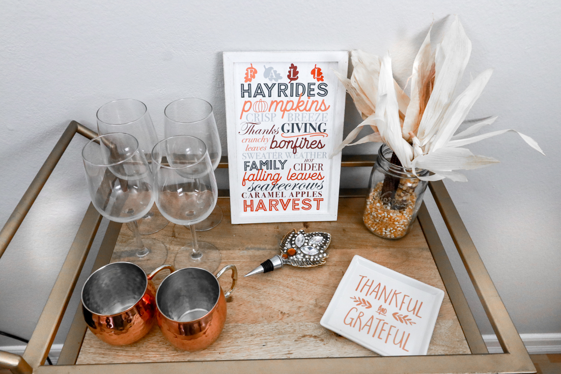 Easy and Quick Friendsgiving Food Ideas Tapas Style featured by top US party blogger, The Fashionista Momma; Friendsgiving party bar cart decor