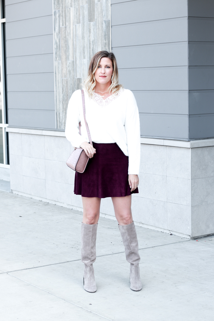 How To Wear: 5 Knee High Boots Outfits featured by Top US Style Blog, The Fashionista Momma; woman wearing suede skirt, sweater and knee high boots. Dolce Vita Knee High Boots.