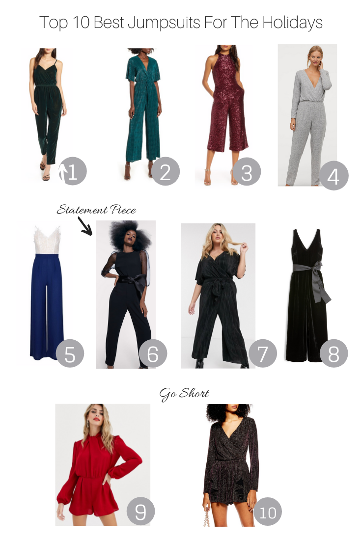Top 10 Best Jumpsuits For The Holidays featured by popular US Style Blogger, The Fashionista Momma; sale collage of jumpsuits.