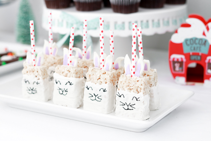 How To Host A Kids Winter Wonderland Birthday Party featured by top US Party Blog, The Fashionista Momma; Bunny Rice Krispie Treats