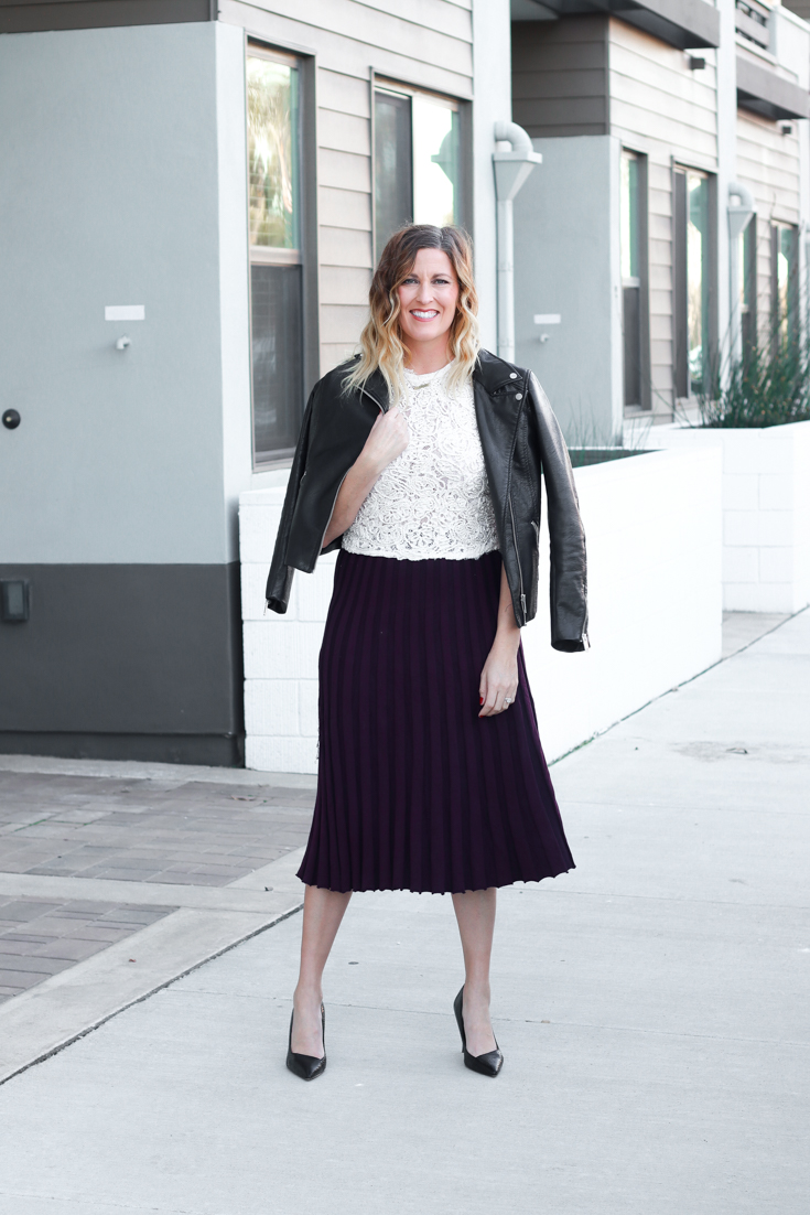 Cute Christmas Outfit Ideas For Mom featured by Popular US Style Blog, The Fashionista Momma; blonde woman in a Target burgundy pleated skirt and lace top from Zara.