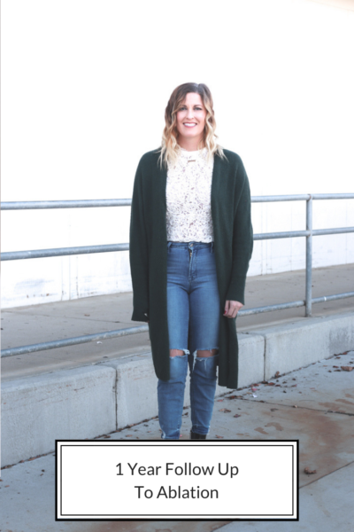 1 Year Follow Up To Ablation featured by The Fashionista Momma; image of woman in cardigan and jeans.
