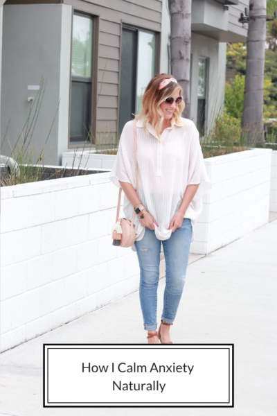 How I calm anxiety naturally, featured by popular US lifestyle blogger, The Fashionista Momma; blonde woman wearing jeans and a tunic top.