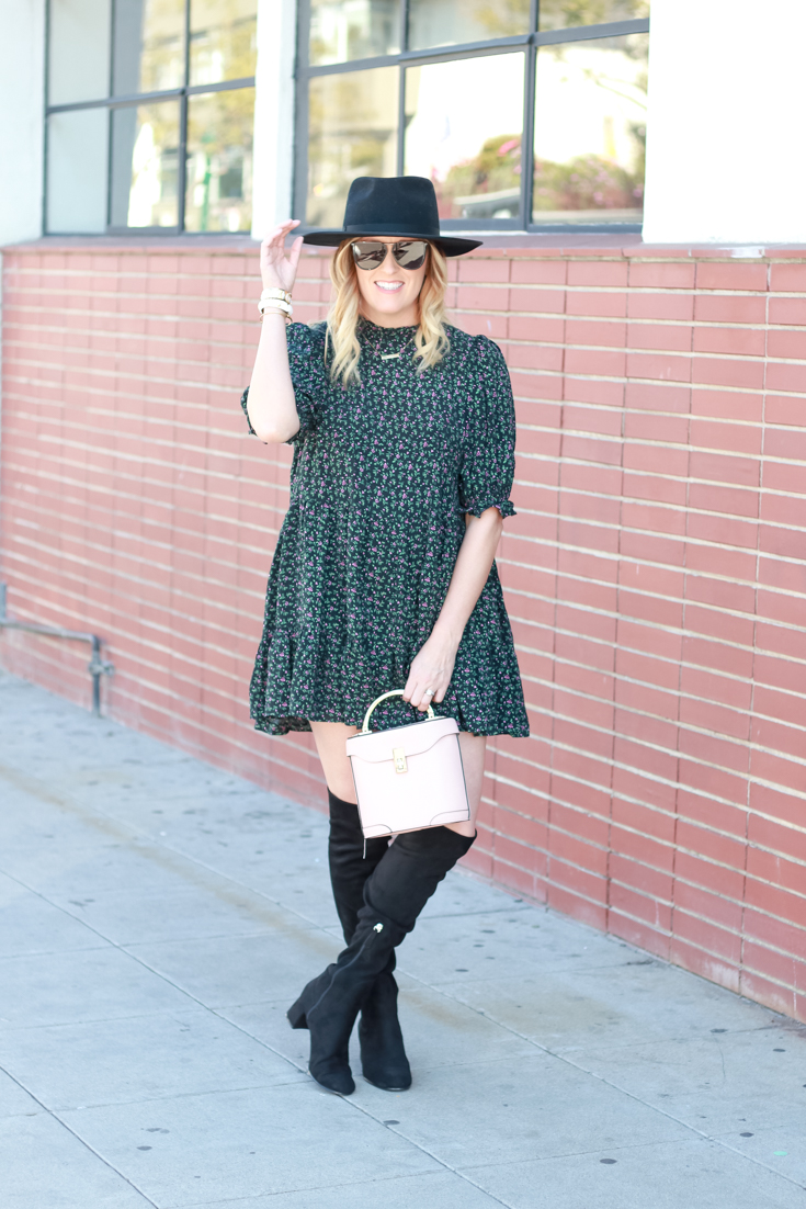 Babydoll Doll Dress With Boots Featured By The Fashionista Momma; image of woman wearing a Zara Dress with OTK Boots