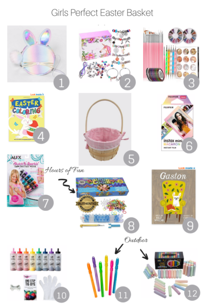 The Girls Perfect Easter Basket fillers featured by popular US Lifestyle Blogger, The Fashionista Momma; collage of the perfect gift basket items.