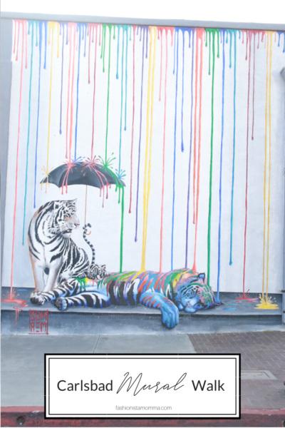 Carlsbad Mural Walk featured by popular Family Travel Blog, The Fashionista Momma; tiger art work in Carlsbad California