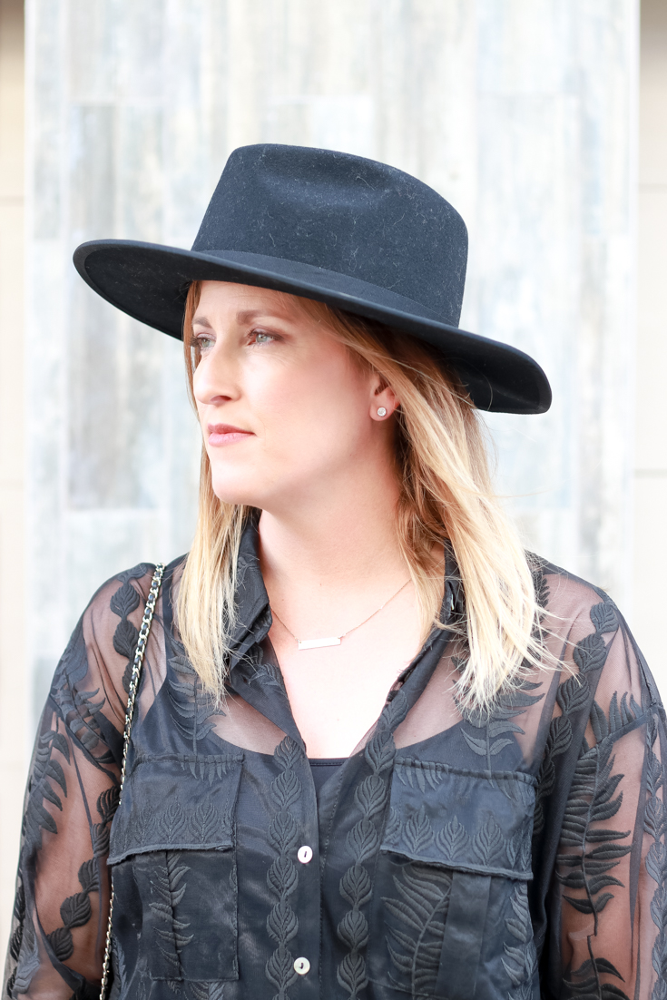 The perfect black top featured by Popular US Style Blogger, The Fashionista Momma; woman wearing a black embroidered top and jeans