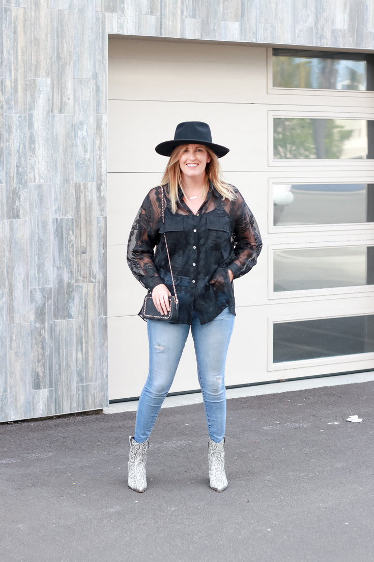 The Perfect Embroidered Top featured by Popular US Style Blogger, The Fashionista Momma; woman wearing a black embroidered top and jeans