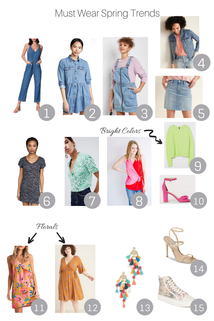 Must Wear Spring Trends featured by Popular US Style Blogger, The Fashionista Momma; collage of items to purchase