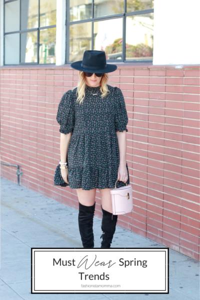 Must Wear Spring Trends Featured by popular US Style Blogger, The Fashionista Momma; woman wearing a floral printed dress.