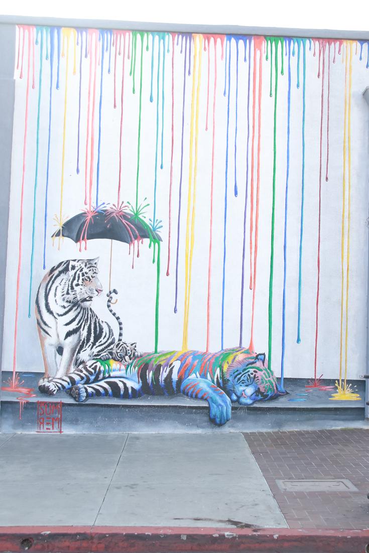 Carlsbad Mural Walk featured by Popular US Family Travel Blog, The Fashionista Momma; Tiger Mural Art in Carlsbad CA