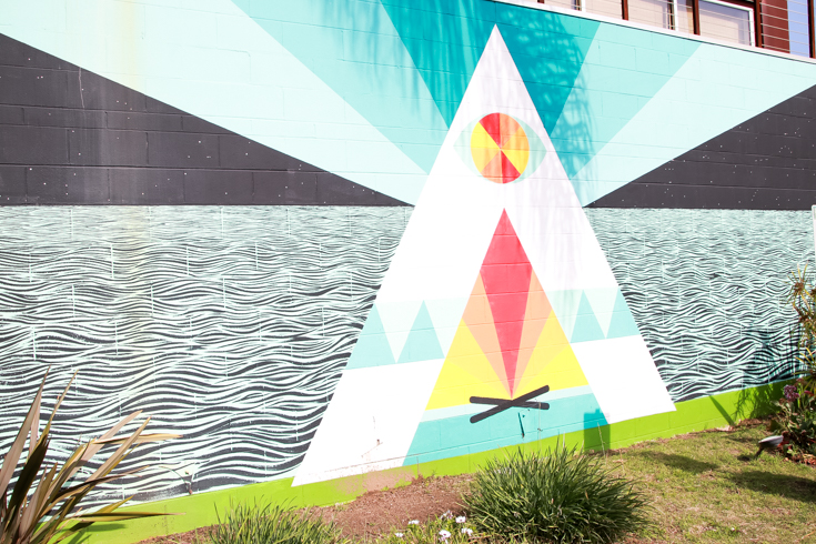 Carlsbad Mural Walk featured by Popular US Family Travel Blog, The Fashionista Momma; Pyramid Mural Art