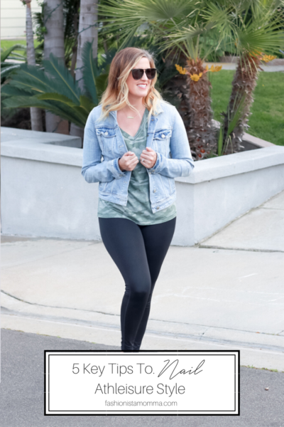 5 Key Tips To Nail Athleisure Style featured by popular US Style Blogger, The Fashionista Momma, woman wearing leggings and a camo shirt.