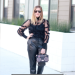 How To Style Leather Joggers featured my Popular US Style Blogger, The Fashionistas Momma; woman wearing leather pants and a black Zara embellished top.