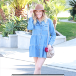 The Ultimate Summer Denim Guide featured by popular US Style Blogger, The Fashionista Momma; woman wearing a denim dress and sneakers.
