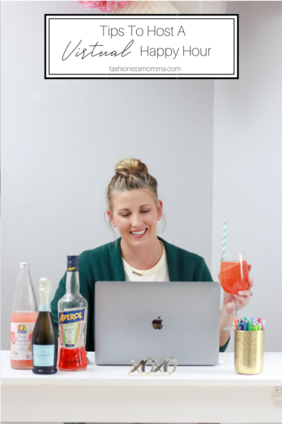 How To Host A Virtual Happy Hour with my a twist on an Aperol Spritz featured by popular US Lifestyle blogger, The Fashionista Momma; woman in front of computer with aperol spritz ingredients